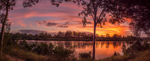 Panoramic River Sunset With Re...