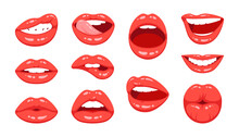 Red Female Lips Collection. Ve...