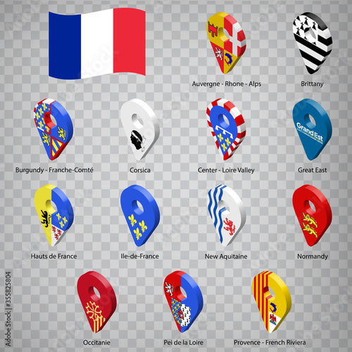 Thirteen flags the Regions of France  - alphabetical order with name Fotobehang