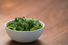 Kale Salad Leaves In White Bow...