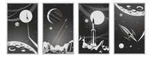 Fantastic Black And White Retro Movie Posters Stylization, Space Journeys Illustrations, Retro Future Space Rockets, Alien Planets