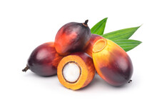 Group Of  Oil Palm Fruits And Cut In Half With Green Leaf Isolated On White Background.