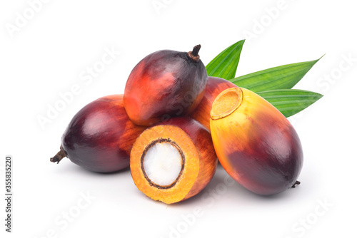 Fototapeta Group of  Oil Palm fruits and cut in half with green leaf isolated on white background