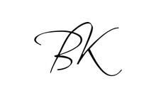 Bk Or Kb Cursive Letter Initial Logo Design, Vector Template
