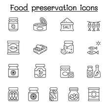 Food Preservation Icons Set In Thin Line Style