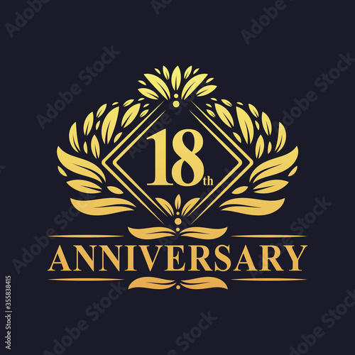 18 years Anniversary Logo, Luxury floral golden 18th anniversary logo. Wall mural