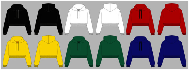Hoody with a long sleeve and a round neck. Clothing for women and men. Set of colored unisex hoodie with hood. Rear and front view. Basic casual clothing and sports. oversize clothes. Vector illustrat