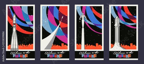 Old Soviet Space Propaganda Posters Stylization, Retro Spacecraft, Flying Man, C Wallpaper Mural