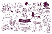 Set Of Adventure Doodle Vector Illustration