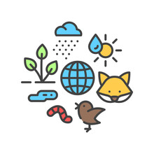 Ecosystem Color Line Icon. Sustainable Biodiversity And Animal Friendly Environment. Sign For Web Page, App. UI UX GUI Design Element. Editable Stroke