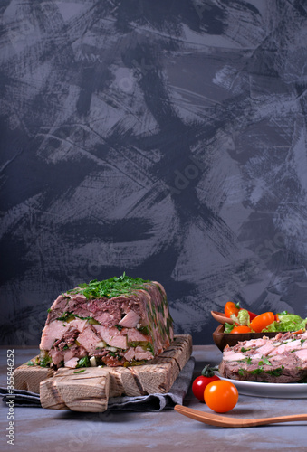 Pork and beef terrine with herbs served with tomato salad Canvas Print