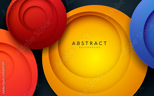 Fotografia 3D Background. Multi circle paper cut decoration.