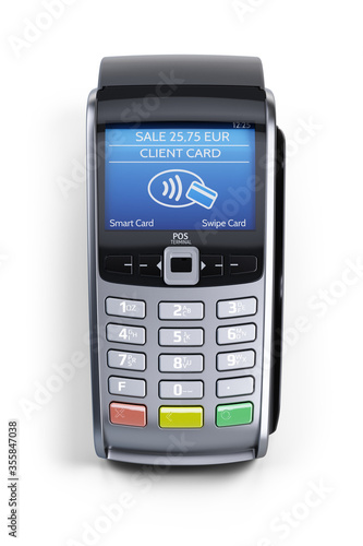 POS Terminal Isolated on White Background Wallpaper Mural