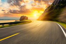 Motion Blurred Mountain Road A...