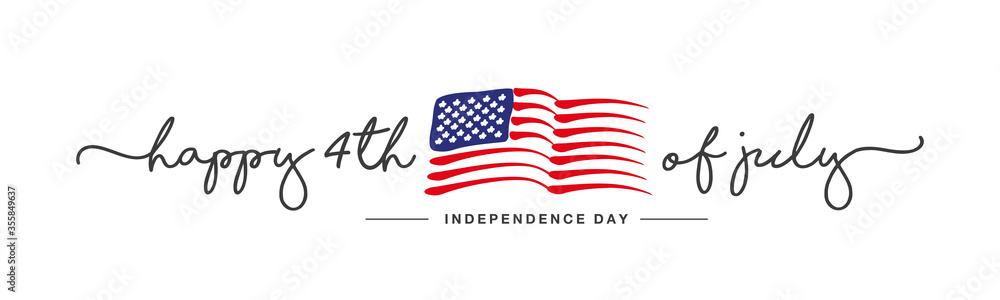 Fototapeta Happy 4th of july Independence day handwritten typography text USA abstract wavy flag white background banner