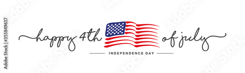 Happy 4th of july Independence day handwritten typography text USA abstract wavy flag white background banner - 355849637