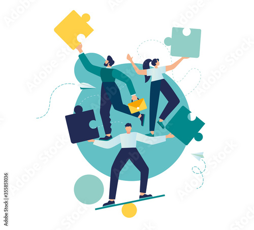 Fototapeta Business concept. Team metaphor. people are juggling puzzle elements. Vector illustration of a flat design style. Symbol of teamwork, cooperation, partnership. obraz