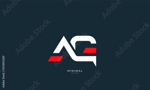 Alphabet letter icon logo AG Wallpaper Mural