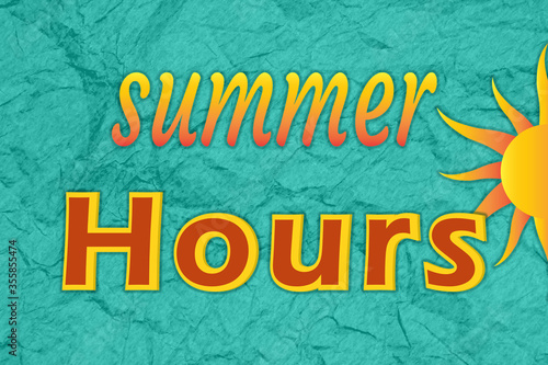 Summer Hours type message with a sun Fototapet
