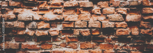 Grunge red bricks wall. Banner background Slika na platnu
