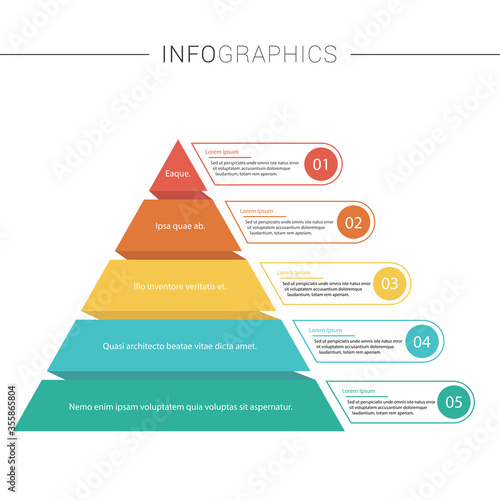 Photo Pyramid Infographics. Funnel business pyramid with 5 charts