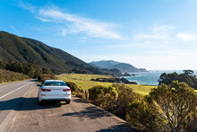 A White Car On Highway 1 In Ca...
