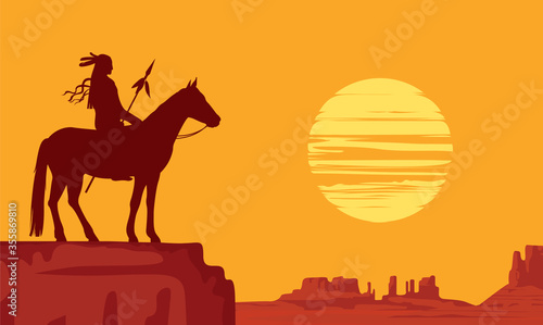 Tela Vector landscape with wild American prairies and silhouette of a lone Indian on horseback with spear at orange sunset
