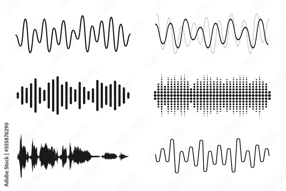 Fototapeta Set of sound waves. Analog and digital line waveforms. Musical sound waves, equalizer and recording concept. Electronic sound signal, voice recording