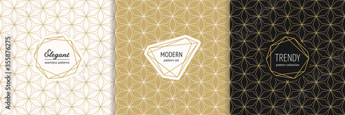 Vector golden geometric seamless patterns with modern minimal labels Canvas Print