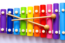 Rainbow Colored Wooden Toy Xyl...