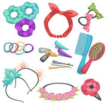 Hair Styling Accessories, Headbands And Combs With Hairpins