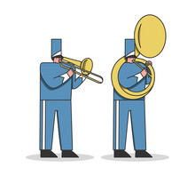 Military Orchestra Musicians In Festival Uniform Playing Trombone And Trumpet