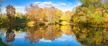 Sunny Autumn Landscape With Bl...