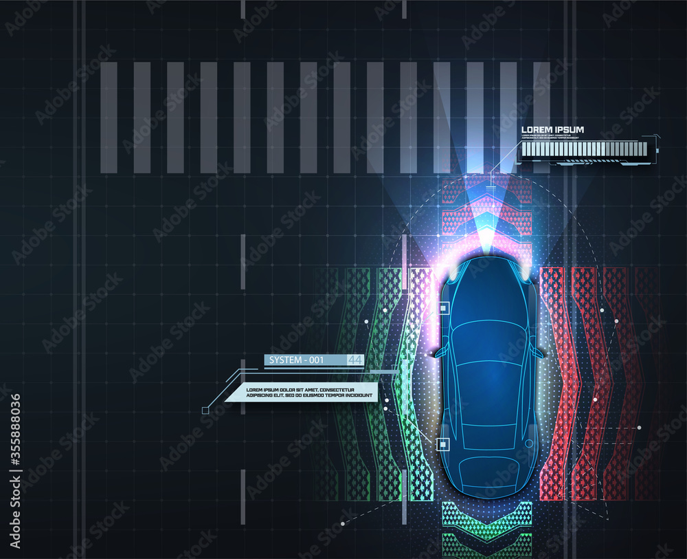 Fototapeta Automatic braking system avoid car crash from car accident. Concept for driver assistance systems. Autonomous car. Driverless car. Self driving vehicle. Future concepts smart auto. Scans the road