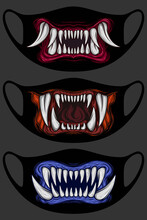 Print With Fangs For Face Mask...