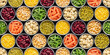 Seamless food background made of opened canned chickpeas, green sprouts, carrots, corn, peas, beans and mushrooms on black background