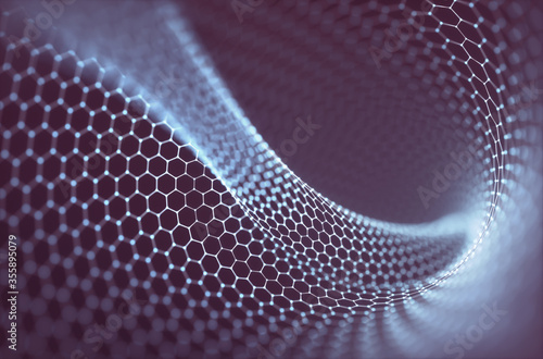 Fototapeta 3D illustration abstract background. Conceptual image with hexagonal structure connection. Graphene concept. obraz