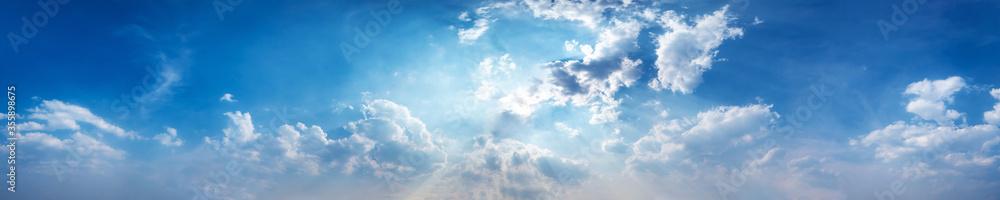 Fototapeta Panorama sky with beautiful cloud on a sunny day. Panoramic high resolution image.
