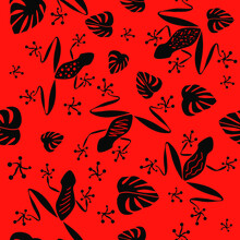 Seamless Pattern. Black Frogs ...