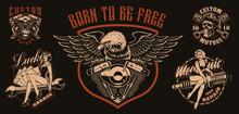 Set Of Vector Biker-themed Ill...