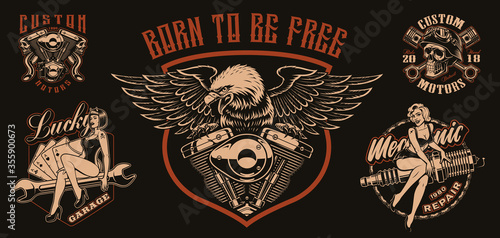 Платно Set of vector biker-themed illustrations for apparel, logos, and many other uses