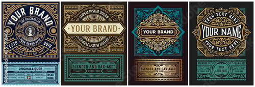 Foto Mega set of 8 vintage labels. Vector layered