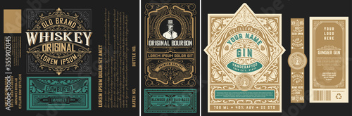 Mega set of 8 vintage labels. Vector layered Fototapete