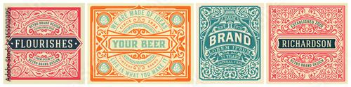 Mega set of 8 vintage labels. Vector layered Canvas Print