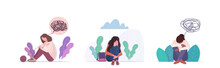 Set Upset Girl Crying Depression Problems Stress Psychotherapy Mental Health Depression Concept Horizontal Full Length Vector Illustration
