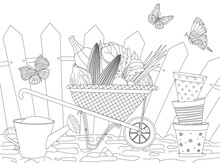 Stack Of Ceramic Pots, Watering Can And  Wheelbarrow With Heap O