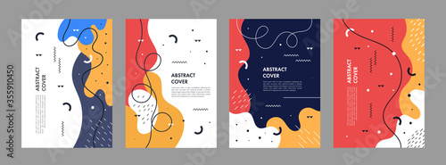 Obraz Set of abstract creative artistic templates. Universal cover Designs for Annual Report, Brochures, Flyers, Presentations, Leaflet, Magazine. - fototapety do salonu