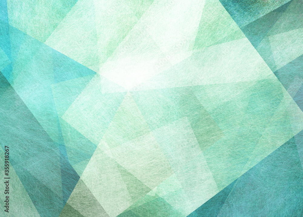 Fototapeta abstract blue green background with textured triangle shapes in fun geometric pattern, teal and white color texture in modern art design