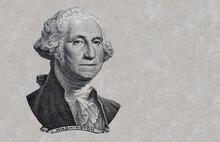 George Washington  Cut On 1dollar Banknote Isolated On White Background