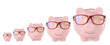 Cute piggy banks of different sizes on white background